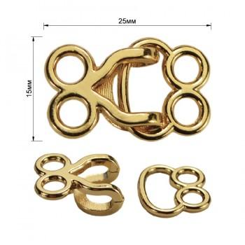 Декоративная застежка, крючок металлический, 15*25мм, цвет золото