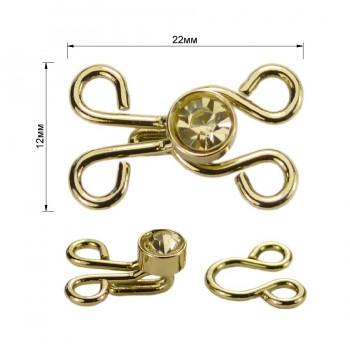 Декоративная застежка, крючок металлический, 12*20мм,цвет золото