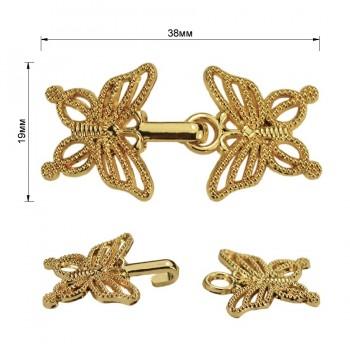 Декоративная застежка, крючок металлический, 19*38мм, цвет золото