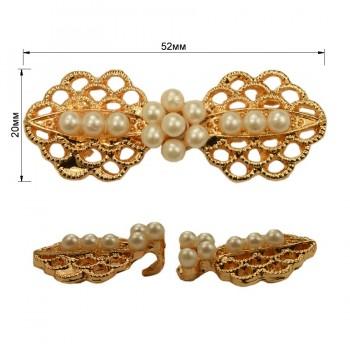 Декоративная застежка, металлическая, цвет золото+жемчуг