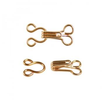 Крючок швейный металлический, 0,8см, цвет золото