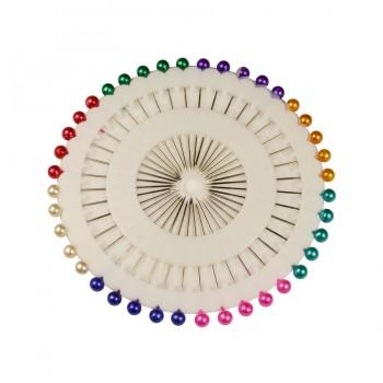 Булавка портновская с цветным окончанием, цвет никель