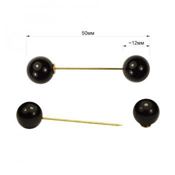 Булавка декоративная, цвет золото+черный жемчуг