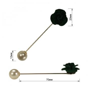 Брошь-шпилька, розочка бархатная, цвет темно-зеленый+никель
