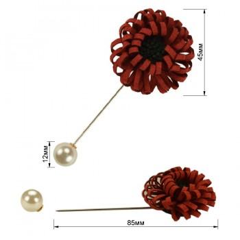 Брошь-шпилька, цветок, цвет красный+зеленый+жемчуг