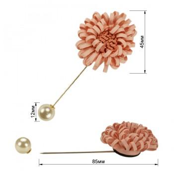 Брошь-шпилька, цветок, цвет розовый+розовый+жемчуг