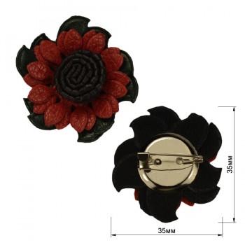Брошь из иск. кожи на булавке ,  цветок ,  цвет т.зеленый+красный+черный