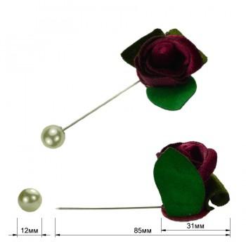 Брошь-шпилька, розочка бархатная, цвет бордо+никель