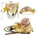 Брошь на булавке, цвет золото+розовый