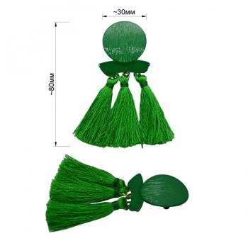 Брошь на булавке, цвет зеленый