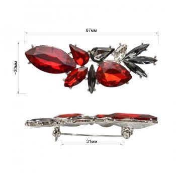 Брошь на булавке, цвет никель+красный