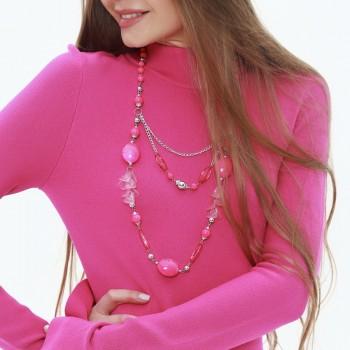 Бусы пластмассовые, цвет розовый