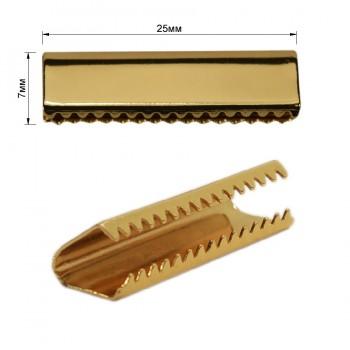 Зажим-украшение металлическое, 25мм, цвет золото