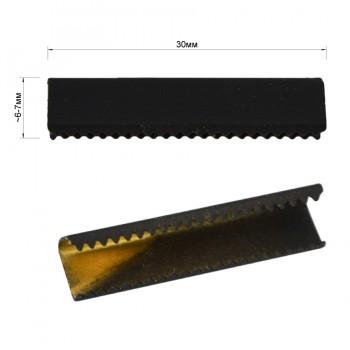 Зажим-украшение металлическое, 30мм, цвет черный тач
