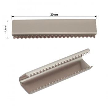 Зажим-украшение металлическое, 30мм, цвет матовый никель
