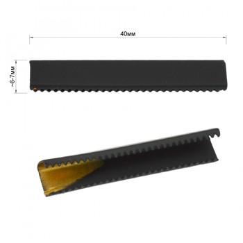Зажим-украшение металлическое, 40мм, цвет черный тач