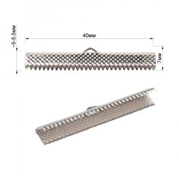 Зажим-украшение металлическое, 40мм, цвет никель