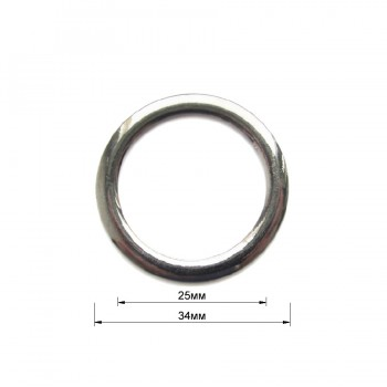 Кольцо металлическое, 2,5см, цвет никель