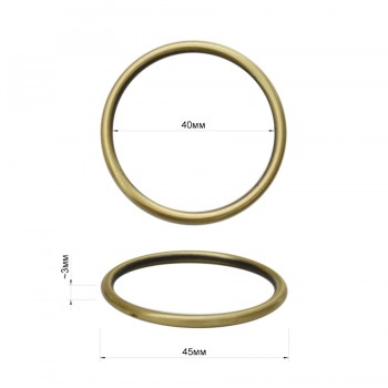Кольцо металлическое, 4см, цвет тертый антик