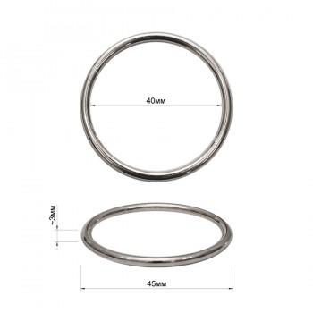 Кольцо металлическое, 4см, цвет никель
