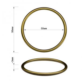 Кольцо металлическое, 5см, цвет тертый антик