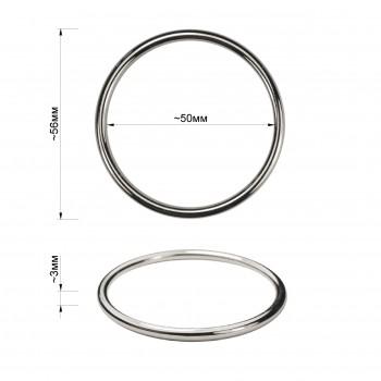 Кольцо металлическое, 5см, цвет никель