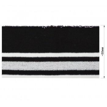Довяз (манжета), уплотненный, цвет черный+белый+серый люрекс