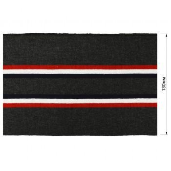 Довяз (манжета), цвет темно-серый+красный+белый+темно-синий