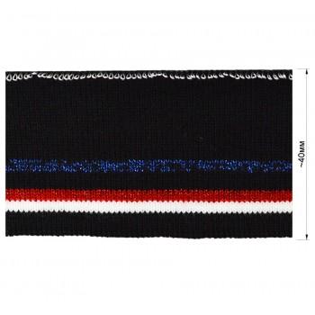 Довяз (манжета), цвет  черный+красный+белый+синий+люрекс