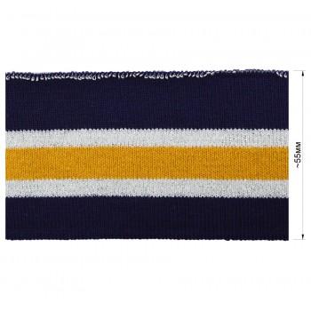 Довяз (манжета), цвет темно-синий+белый+желтый+серебро