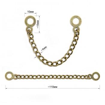 Вешалка цепочка для одежды металлическая, цвет антик
