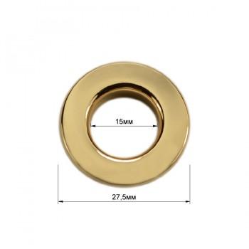 Люверс(блочка) металлический, 15*27.5мм, цвет золото