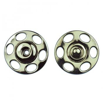 Кнопка металлическая, пришивная, 23мм, цвет никель