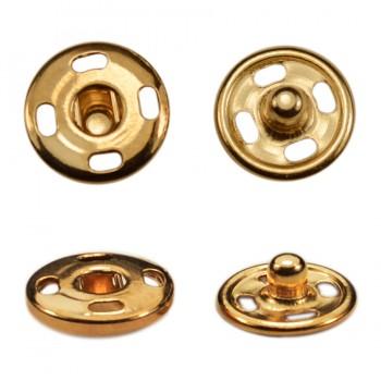 Кнопка металлическая, пришивная,10мм цвет золото