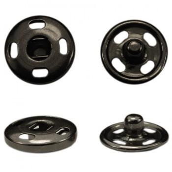 Кнопка металлическая, пришивная,12мм цвет черный