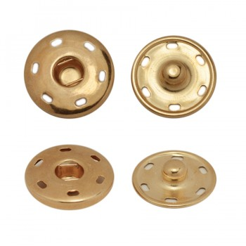Кнопка металлическая, пришивная, 19мм цвет  медь