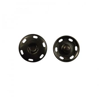 Кнопка металлическая, пришивная, 21мм цвет черный