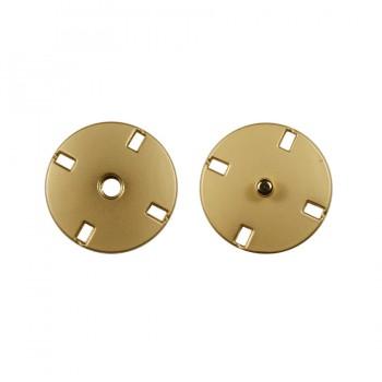 Кнопка металлическая, пришивная,15мм цвет матовое золото