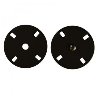 Кнопка металлическая, пришивная,23мм цвет черный тач
