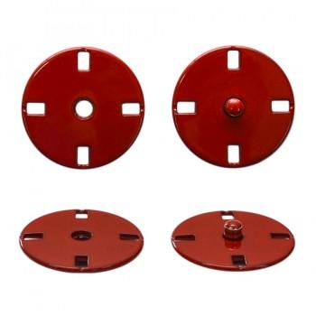 Кнопка металлическая, пришивная,23мм цвет красный
