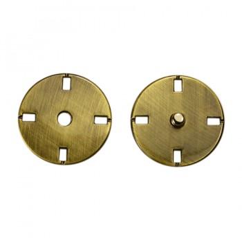 Кнопка металлическая, пришивная,23мм цвет тертый антик