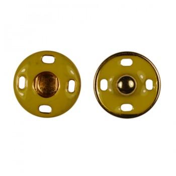 Кнопка металлическая, пришивная,18мм цвет золото+горчица