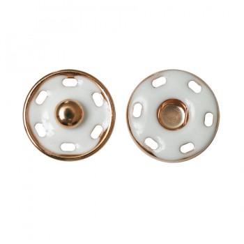 Кнопка металлическая, пришивная,18мм цвет золото+белый