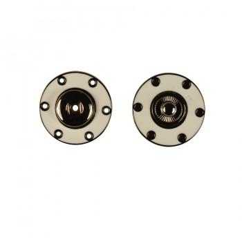 Кнопка металлическая, пришивная,25мм цвет никель+белый