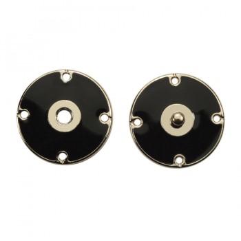 Кнопка металлическая, пришивная,22мм цвет никель+черный