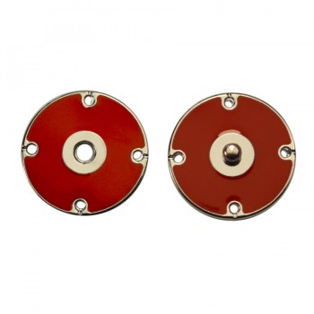 Кнопка металлическая, пришивная,22мм цвет никель+красный
