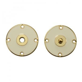 Кнопка металлическая, пришивная,22мм цвет золото+белый