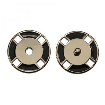 Кнопка металлическая, пришивная,21мм цвет никель+черный