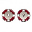 Кнопка металлическая, пришивная,21мм цвет никель+красный