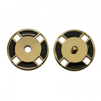 Кнопка металлическая, пришивная,21мм цвет золото+черный